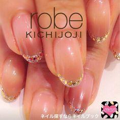 ネイル 画像 nail design spa robe 吉祥寺 1106223 ブラウン フレンチ 秋 ソフトジェル ハンド ミディアム