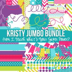 Digital Papers, Frames, and Clipart Kristy Jumbo Set. Purple, hot pink, pink, yellow, lime green, blue, and turquoise.