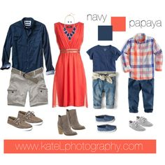 Papaya + Navy // Family Outfit by katelphoto on Polyvore featuring polyvore, fashion, style, Sbicca, Banana Republic, Hollister Co., Sperry, J.Crew, Zara and H&M