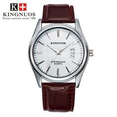 Features and specifications: Dial - Shape: Round - Movement type: Quartz - Display type: Pointer - Pointer color: Silver - Dial color: Black, white, brown, blue Band - Material: Stainless Steel/leather - Clasp type: Folding clasp - Band color: Silver/black, brown Watch - Length: approx. 240 mm - Dial diameter: approx. 40.5 mm - Dial thickness: approx. 9 mm - Weight: approx. 90 g Package : 1 x watch Mens Sport Watches, Luxury Watches For Men, Top Luxury Brands, Business Fashion, Quartz Watch, Luxury Branding, Leather, Black White, Color Black