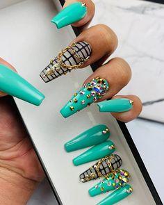 May 2020 - Green Money Nails Press on Nails Any Shape and Size Fake Dope Nails, Bling Nails, My Nails, Stiletto Nails, Coffin Nails, Fall Nails, Swarovski Nail Crystals, Crystal Nails, Summer Acrylic Nails