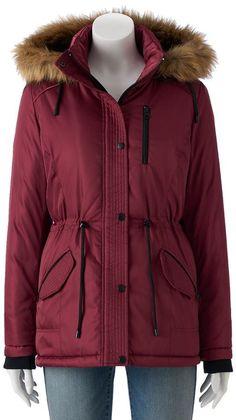 Juniors' Sebby Hooded Faux-Fur Parka Puffer Jacket