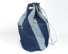 LeBigSac Backpack, denim patchwork stripes, rope - on etsy