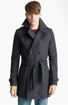 @Cameron Fredrickson Wool Blend Trench Coat #Nordstrom I would rock this with some ag dark denim, and a robert baracket v-neck