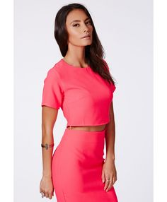 Corrina Neon Pink Crepe Cropped Shell Top - Shell Tops - Missguided | Ireland