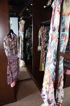 Another angle of the archival closet with a mirrored wall. Naeem Khan, Dress Cuts, Carrie Underwood, Michelle Obama, Lady Gaga, Beyonce, Closets, Taylor Swift, Kimono Top