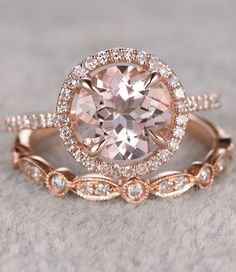 2pcs Morganite Bridal Ring Set in Rose Gold