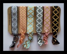 6 FOIL Hair TIES  Black and Gray w/ Gold and by CrownedPeacock, $9.00