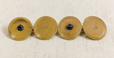 Stunning Vintage 14k Yellow Gold 0.08ctw Diamond & 0.70ctw Cabachon Blue Sapphire Cuff Links 8.2 grams FREE SHIPPING $425.00