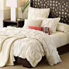 pintuck duvet cover white gold cream  | West Elm Organic Cotton Pin-Tuck Duvet Cover Cream