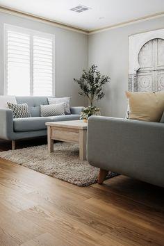 Stunning apartment design from our Australia partners, Woodpecker Flooring Coswick Oak Natural Hardwood flooring. Living Room Hardwood Floors, Parquet Flooring, Apartment Design, Apartments, Ottoman, Australia, Concept, Studio, Chair
