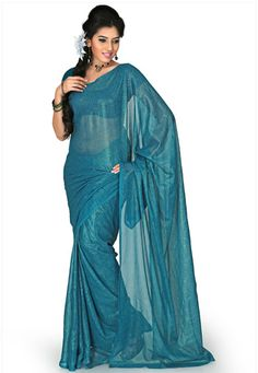 Teal green faux chiffon saree designed with floral print. As shown teal green faux chiffon blouse fabric is available and also can be customized from 34 to 44 inches as per your style or pattern subject to fabric limitation. (Slight variation in print and color is possible.) data-pin-do=