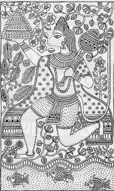 Worli Painting, Fabric Painting, Painting Styles, Painting Tutorials, Madhubani Art, Madhubani Painting, Art Indien, Kalamkari Painting, Folk Art Flowers