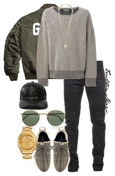 Yeezy Season x Winter Fashion. by monroestyles on Polyvore featuring polyvore fashion style adidas Originals Versace Givenchy Ray-Ban Balmain clothing MensFashion - clothing, teenager, hipster, workout, teenager, dance clothes *ad