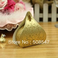 free shipping water droplet 100pcs gold yellow water droplet Wedding Favor Box gift box candy box wedding box $19.50