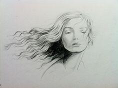 Retrato Pelo viento Chica