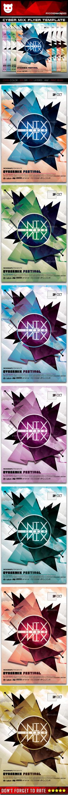 Cyber Mix Flyer Template PSD #design Download: http://graphicriver.net/item/cyber-mix-flyer-template/14354298?ref=ksioks