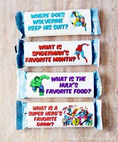 Free Printable MARVEL Super Hero Joke Granola Bar Wrappers at artsyfartsymama.com #MARVELSnackBar #Ad