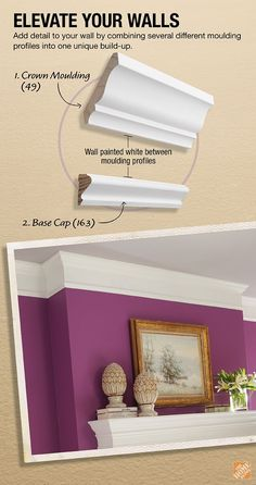 DIY: How To Build Up Or Layer Crown Moulding - this post shows how to space your mouldings and paint the wall between them - the mouldings appear to be wider, and more expensive than they are. The Home Depot...and don't forget the paint color❤️