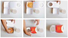 Robert Bye, designer industriel, s'est penché sur la manière dont MacDonald's, sert ses produits. Il a créé un concept qui contient tout à la fois, le hamburger, les frites et la boisson, le tout dans un emballage qui pèse moitié moins que les 50 grammes habituels. Quand on connaît les conséquences économiques que peuvent avoir un allègement du carton du Big Mac la question valait le coup d'être soulevée.