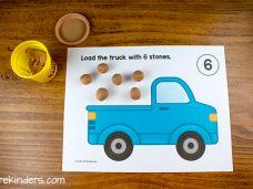 Truck Play Dough Counting Mats