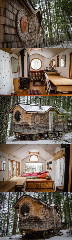 Just a tiny home…If I had the skills to do this (and it had internet access), I'd be perfectly happy living in something like this.