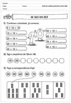 Atividades de Matemática 1º ano - De 10 em 10