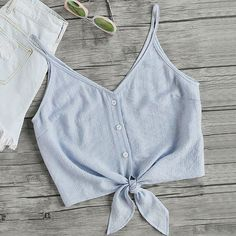 Online shopping for Button Placket Knot Front Cami Top from a great selection of women's fashion clothing & more at MakeMeChic. Cami Tops, Cami Crop Top, Cropped Cami, Crop Tank, Mode Outfits, Fashion Outfits, Womens Fashion, Stylish Outfits, Fashion Ideas