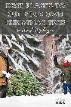 15+ Unforgettable Christmas Tree Farms in West Michigan that Let You Cut Your Own Christmas Tree - grkids.com Christmas Tree Farm, Christmas Mom, Fraser Fir, Horse Drawn Wagon, Flocked Trees, Farming S, Fir Tree, Fb Page, Evergreen