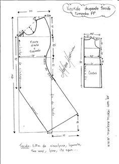Esquema de modelagem de Vestido drapeado torcido tamanho PP.