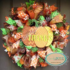 Give Thanks Pumpkin Autumn/Fall Deco Mesh Wreath by Jennifer Boyd Designs.  www.etsy.com/shop/JenniferBoydDesigns www.facebook.com/JenniferBoydDesigns