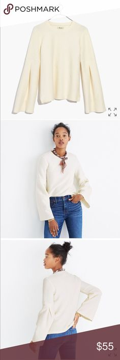 Madewell Pleat-Sleeve Ribbed Top price firm New with tag; PRODUCT DETAILS Made of textural ribbed fabric, this toss-on top has cool pleated bell sleeves. As easy to wear as a sweatshirt but much more pulled-together.  True to size. Cotton. Machine wash. Import. Madewell Tops
