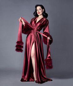 "d4e04b53da 💄Dita Von Teese on Instagram  ""My sumptuous Catherine D Lish dressing gown  in rich Bordeaux"
