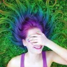 Green and purple hair