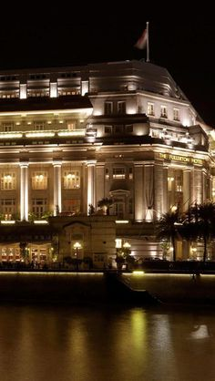 The Fullerton Hotel, Singapore.  This is a beautiful old hotel - used to be the Post Office. Have stayed here and would recommend.