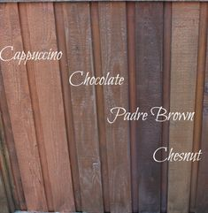 These were my final four choices for my fence. These are all Behr Stain colors. Come and see which colour I picked to stain the fence.