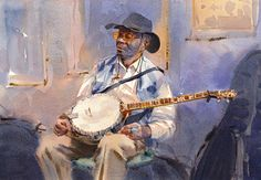 Mike Kowalski - Blues Man- Watercolor - Painting entry - December 2017 | BoldBrush Painting Competition
