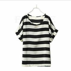 Chiffon Short Sleeved T-Shirt. Chiffon Semi-Sheer Batwing Short Sleeved T-Shirt. Black & White Stripe.  This is NWOT Retail. Price Firm Unless Bundled. Measurements available upon request. Tops Tees - Short Sleeve