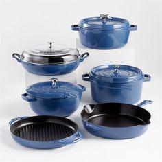Staub Cookware, Le Creuset Cookware, Enameled Cast Iron Skillet, Cast Iron Cookware, Carbon Steel Wok, Cast Iron Frying Pan, How To Cook Fish, Metallic Blue, Black Enamel
