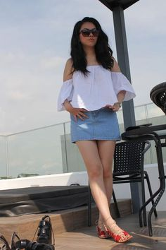 Cara off shoulder top in White(SGD$24.90) Come on in to www.theluxeparade.com to shop this look