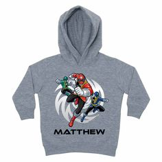 Power Rangers Power Up Gray Toddler Hoodie - Hoodies & Sweatshirts - Clothing | Tv's Toy Box