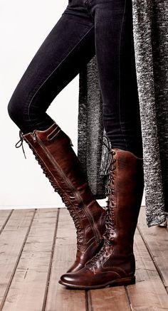 e641406b017 Dark brown leather lace up BEDSTU boots with a dark denim pant and long  cardigan style
