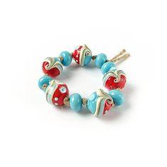Lampwork Beads Turquoise Red Lampwork Bead Set by FolgaOlgaBeads