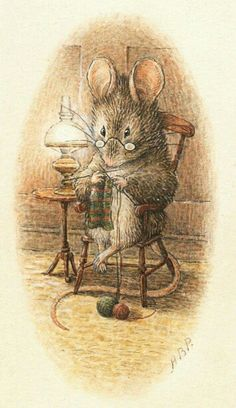 Knitting Mouse by Beatrix Potter. I loved loved loved Beatrix Potter. Beatrix Potter Illustrations, Beatrice Potter, Peter Rabbit And Friends, Motifs Animal, Children's Book Illustration, Book Illustrations, Illustrators, Fairy Tales, Cute Animals