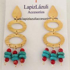 Aretes turquesa y coral. www.lapizlazuliaccesorios.com Instagram: @lapizlazuliaccesorios. Fan page: LapizLázuli-Accesorios para mujer