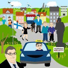 Perussuomalaisten ihannekunta - kuntavaalit -illustration @ Stina Tuominen