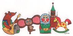"""Дудл для Google: """"Мой город. Моя страна. 30 лучших работ юных художников на тему """"Мой город.  Панина Елизавета, г. Москва Тема моего дудла - русские игрушки. Они отображают культуру России."""