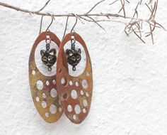 Copper earrings Cat earrings Rustic copper by FlowerOfParadise