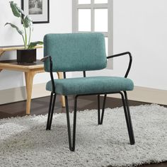 Palm Springs Blue Upholstery Mid Century Accent Chair (Aqua Accent Chair) (Fabric)