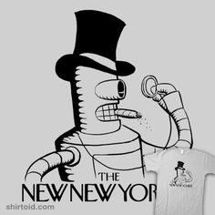 """The New New Yorker II"" by Jango Snow Robot of the millennium, now bite his shiny metal ass. Bender of Futurama in the style of The New Yorker"